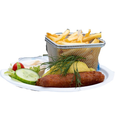 Fish and chips med hemmagjord sås (aioli, remouload, chili-aioli)